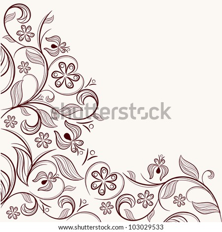 Angular floral pattern - stock vector