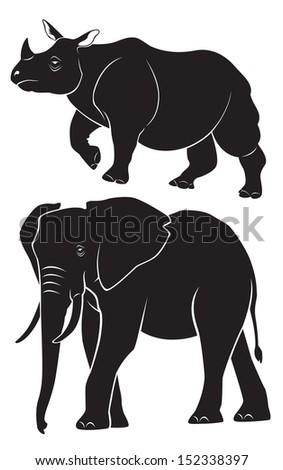 animal rhino elephant - stock vector