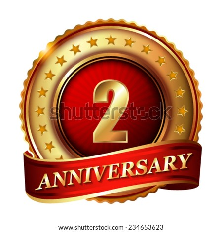 2 Anniversary golden label with ribbon. Vector illustration. - stock vector