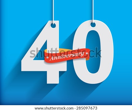 40 Anniversary numbers with ribbon. Flat origami style with long shadow. Vector illustration - stock vector