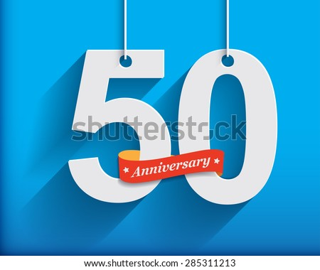 50 Anniversary numbers with ribbon. Flat origami style with long shadow. Vector illustration - stock vector