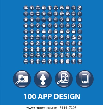 100 app design glossy buttons - stock vector