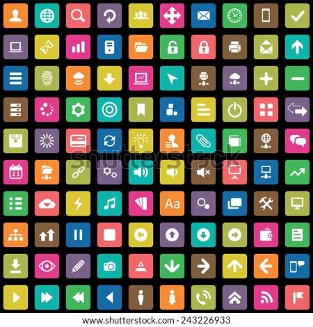 100 app icons big universal set  - stock vector