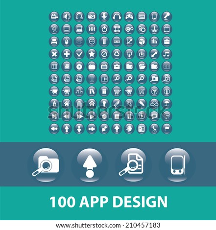 100 application, mobile buttons, design icons, signs, symbols, objects, illustrations set. vector - stock vector
