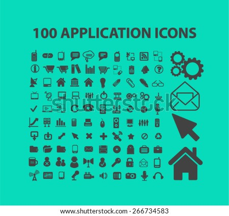 100 application, mobile icons, signs, illustrations design concept set. vector - stock vector