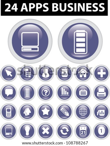 24 apps business icons set, vector - stock vector