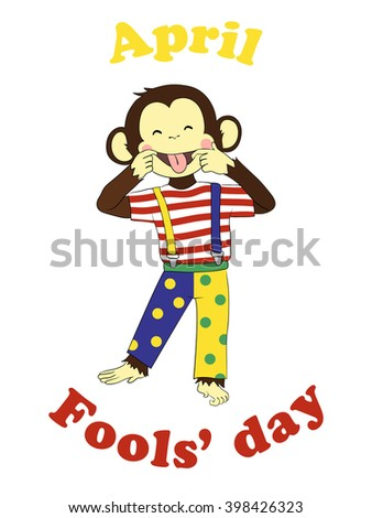 1 April Fools day. Funny cartoon All fools day card, poster. April fool prank. Monkey clown. - stock vector
