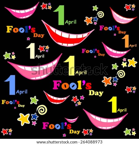 1 april. Fools Day. Seamless pattern wallpaper of smiles. Vector illustration  - stock vector