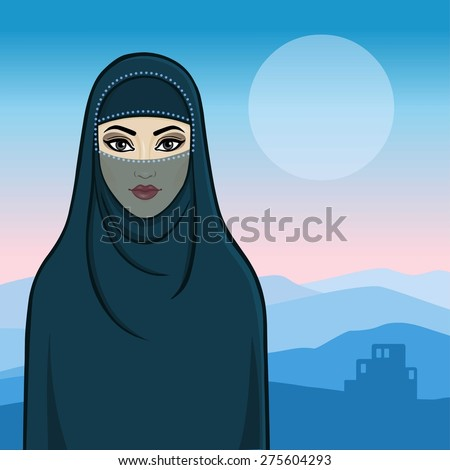 Arab animation girl in traditional clothes. Mountain background. - stock vector