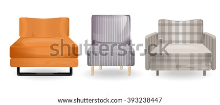 armchair isolated vector.Collection types seating. Simple cartoon isolated vector illustration.Furniture icons-set.home decor boutique, furniture design. Elements of interior. - stock vector