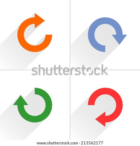 4 arrow icon refresh, rotation, reset, repeat, reload sign set 03. Orange, blue, green, red colors pictogram with gray long shadow on white background. Simple flat style vector illustration - stock vector