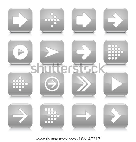 16 arrow icon set 01. White sign on gray rounded square button with gray reflection, black shadow on white background. Glossy style. Vector illustration web design element save in 8 eps - stock vector