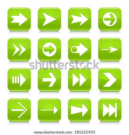 16 arrow icon set 02. White sign on green rounded square button with gray reflection, black shadow on white background. Glossy style. Vector illustration web design element save in 8 eps - stock vector