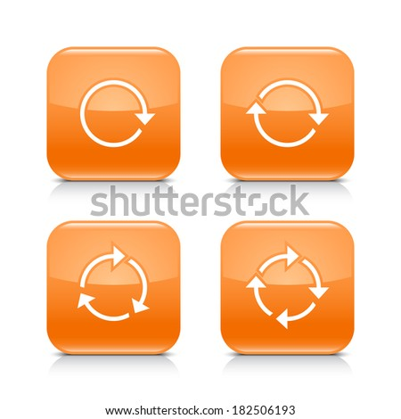 4 arrow icon. White refresh, reload, rotation, repeat sign. Set 04. Orange rounded square button with gray reflection, black shadow on white background. Vector illustration web design element in 8 eps - stock vector