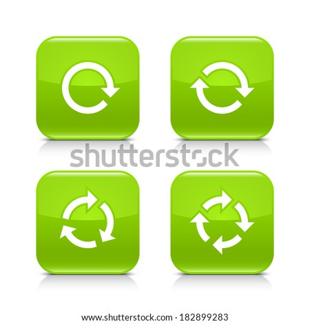 4 arrow icon. White repeat, reload, refresh, rotation sign. Set 01. Green rounded square web button with black shadow, gray reflection on white background. Vector illustration design element in 8 eps - stock vector