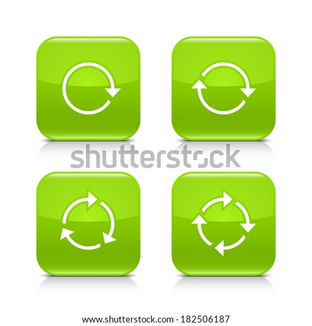 4 arrow icon. White rotation, repeat, refresh, reload sign. Set 03. Green rounded square button with gray reflection, black shadow on white background. Vector illustration web design element in 8 eps - stock vector