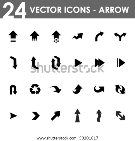 24 arrow icons - stock vector