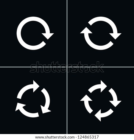 4 arrow pictogram refresh reload rotation loop sign set. Volume 02 - White Version. Simple icon on black background. Mono solid plain flat minimal style. Vector illustration web design elements 8 eps - stock vector