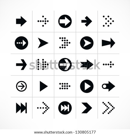 25 arrow sign icon set 01 (black color). Modern simple pictogram minimal, flat, solid, mono, monochrome, plain, contemporary style. Vector illustration web internet design elements saved in 8 eps - stock vector
