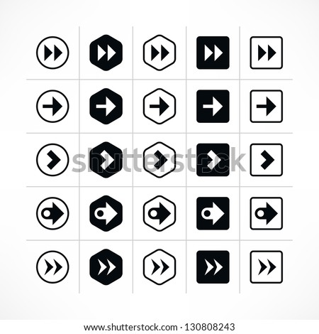 25 arrow sign icon set 08 (black color). Modern simple pictogram minimal, flat, solid, mono, monochrome, plain, contemporary style. Vector illustration web internet design elements saved in 8 eps - stock vector