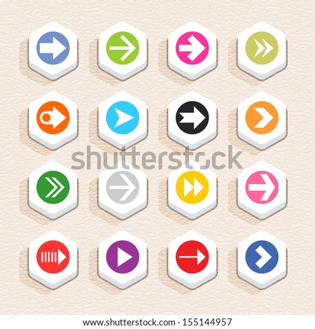 16 arrow sign icon set 03 (color on white). Hexagon button web internet shape with shadow on beige paper background with plastic texture. Simple flat style. Vector illustration design element 10 eps - stock vector