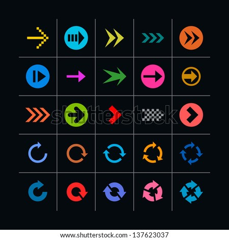 25 arrow sign icon set. Set 04 on black (pink, violet, gray, orange, brown, yellow, green, blue, red). Simple pictogram modern, mono, plain, minimal, flat, solid style. Web design elements 8 eps - stock vector