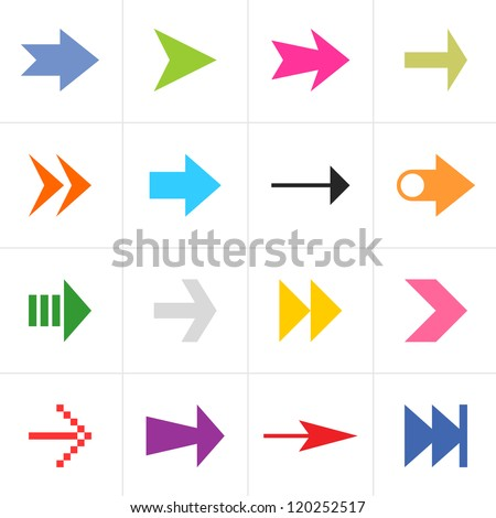 16 arrow sign pictogram set. Simple color web icon on white background. Modern contemporary solid plain flat mono minimal style. This vector illustration design elements saved in 8 eps - stock vector
