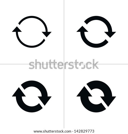 4 arrow sign reload refresh rotation loop pictogram. Set 02. Simple black icon on white background. Modern mono solid plain flat minimal style. Vector illustration web design elements save in 8 eps - stock vector