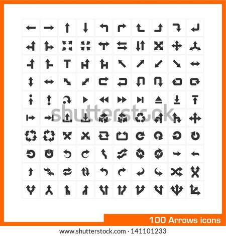 100 arrows icons set. Vector black pictograms for web, internet, computer, mobile apps, business presentations, navigation, transportation, interface design: direction, turn, left, right, move symbol - stock vector