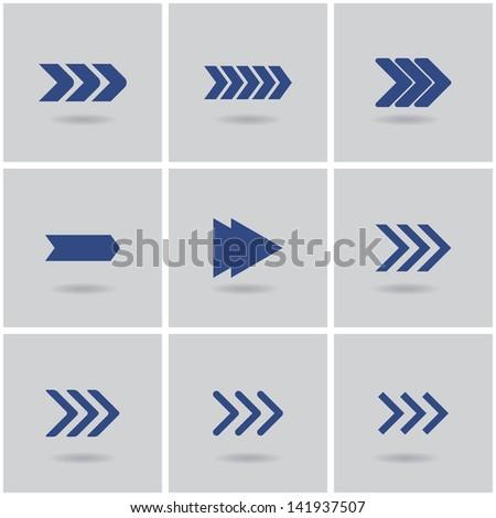 9 arrows. vector. set 1. eps10 - stock vector
