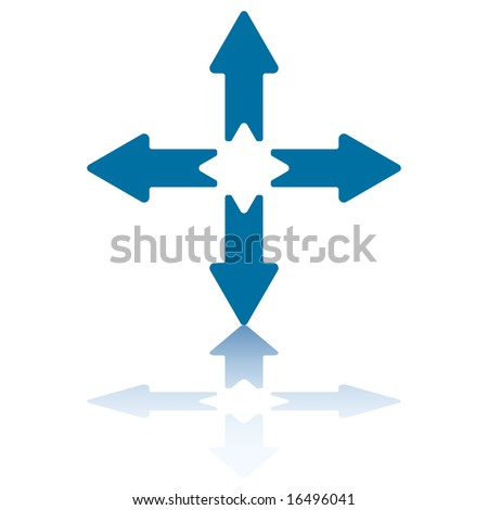 4 Arrows With Reflection on Bottom Plane Pointing North, South, East and West - stock vector