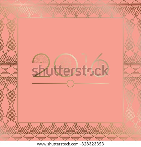 2016 Art Deco Template on pink background - stock vector