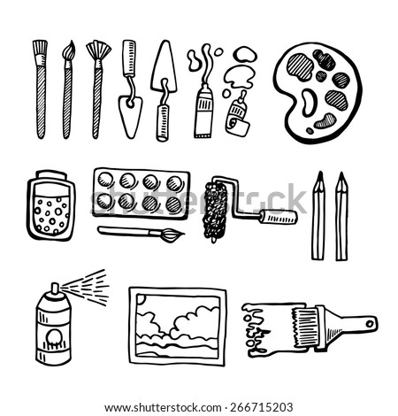Artist tools hand drawn set vector white and black - stock vector
