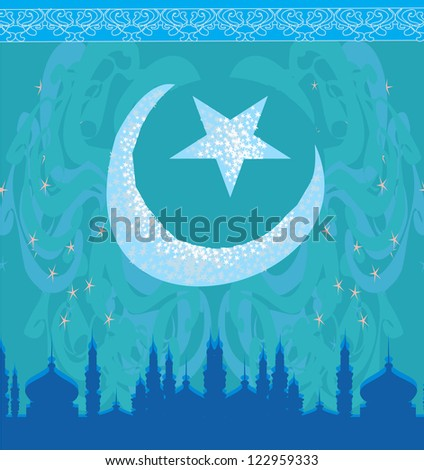 artistic pattern background with moon and mosque - stock vector