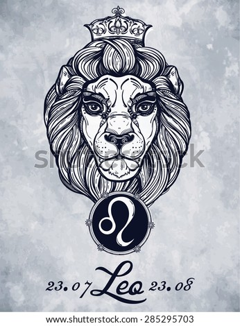 Astrology zodiac Leo sign.  Tattoo art Lion.  Retro Clip Art.  Isolated Vector illustration. Hand drawn lion in vintage engraved style. Line art horoscope symbol template. - stock vector