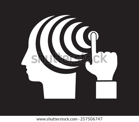 attention distraction -  mind control manipulation - stock vector