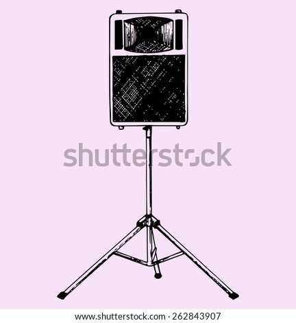 audio speaker on a stand, doodle style, hand drawn - stock vector