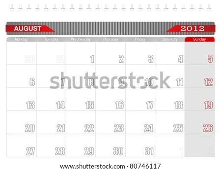 2012 August-Planning Calendar - stock vector