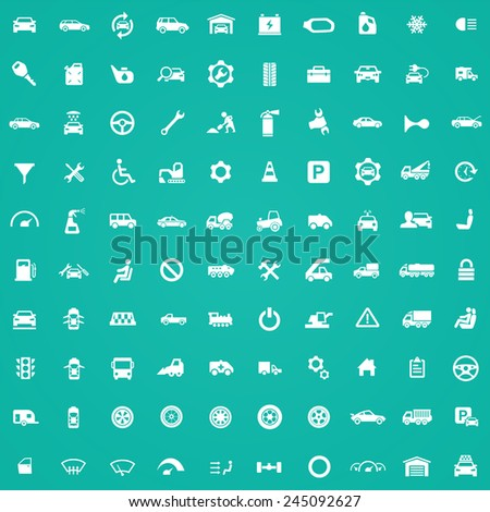 100 auto icons, white on green background  - stock vector