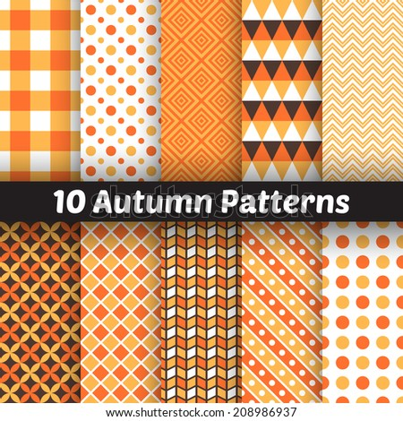 10 Autumn vector seamless patterns. Endless texture for wallpaper, fill, web page background, texture. Set of halloween and thanksgiving geometric ornament. Orange and white colors - stock vector