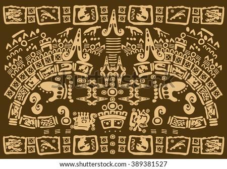 Aztec pattern tribal - stock vector