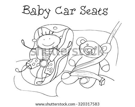 Baby car seats. Kids Health. Graphic sketch in vector. - stock vector