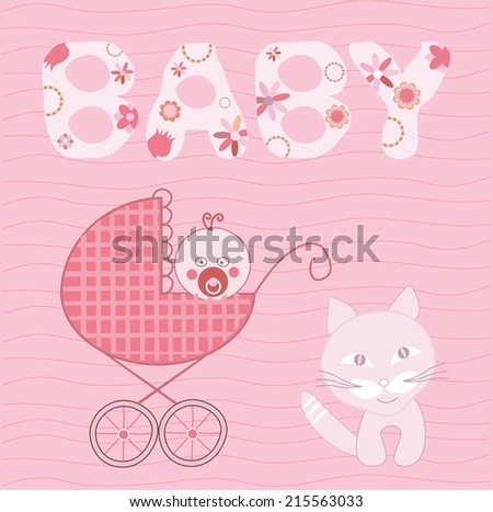 baby girl and cat - stock vector