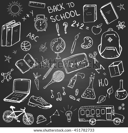 """Back to school"" set of hand drawn school related items and elements on the blackboard background - stock vector"