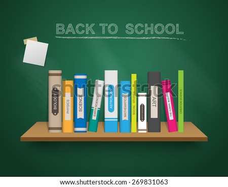 Back to school template with book shelf, Vector illustration. - stock vector