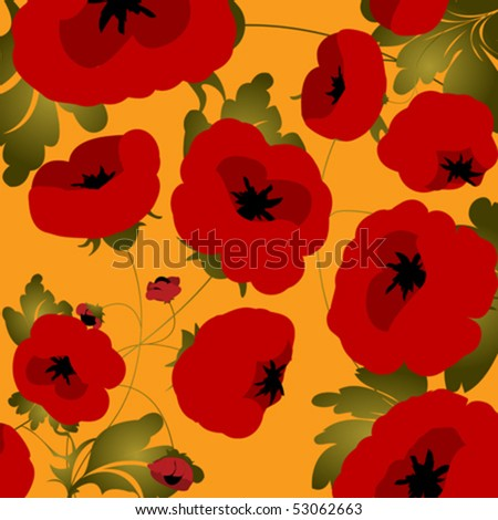 background with poppies - stock vector
