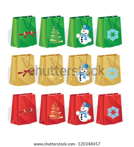 12 bags for winter shopping - stock vector