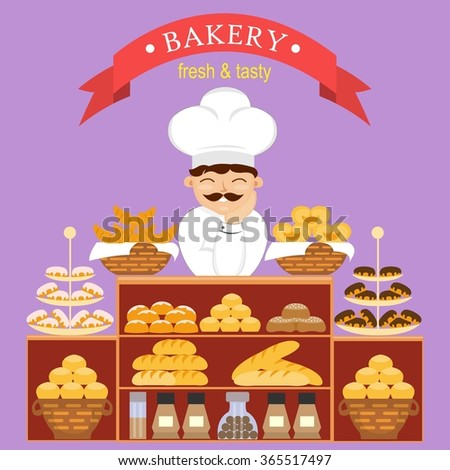Baker behind the counter with baking bread in the bakery. Vector illustration of confectionery. Bakery counter and chef in the hat with different pastries.  Bun and chocolate loaf, croissant and cake - stock vector