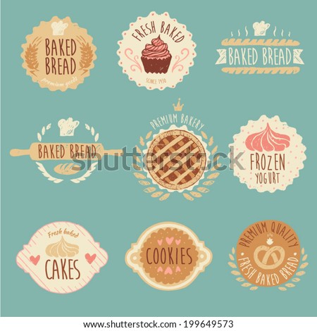 bakery labels set, baked bread, vintage illustration, engraved retro style, hand drawn - stock vector