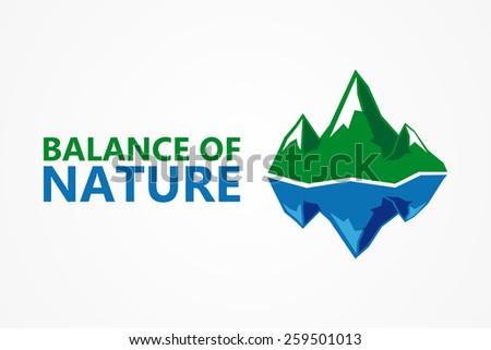 Balance of nature. Mountain and iceberg  - stock vector